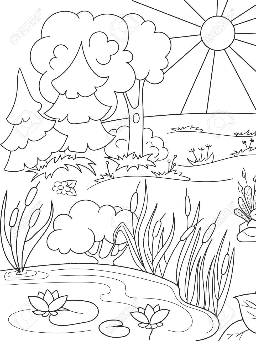 Cartoon coloring book black and white Nature. Glade in the forest..
