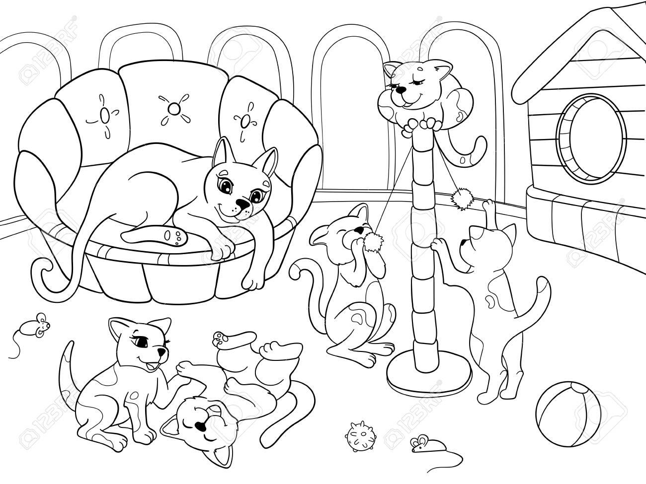 Família Dos Desenhos Animados Do Livro Para Colorir Das Crianças Na Natureza Mãe Gato E Gatinhos Crianças