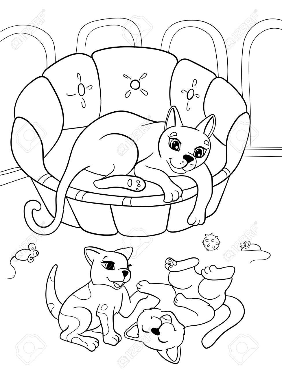 Niños Para Colorear Familia De Dibujos Animados De Libro En La Naturaleza Mamá Gato Y Gatitos Niños