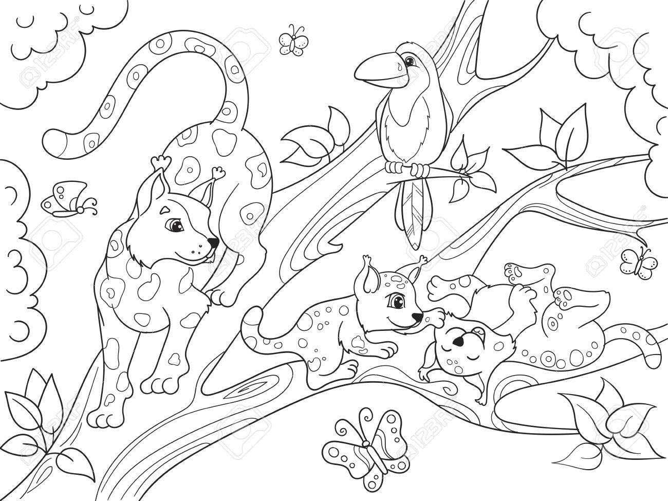 Caricature de livre de coloriage pour enfants famille de léopards sur la  nature.