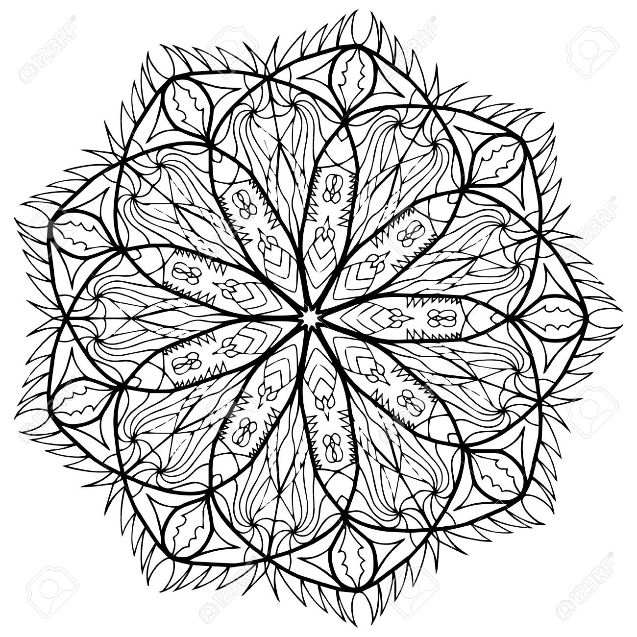 Patrón De Mandala De Flores Para Colorear Páginas De Libros. Diseño ...