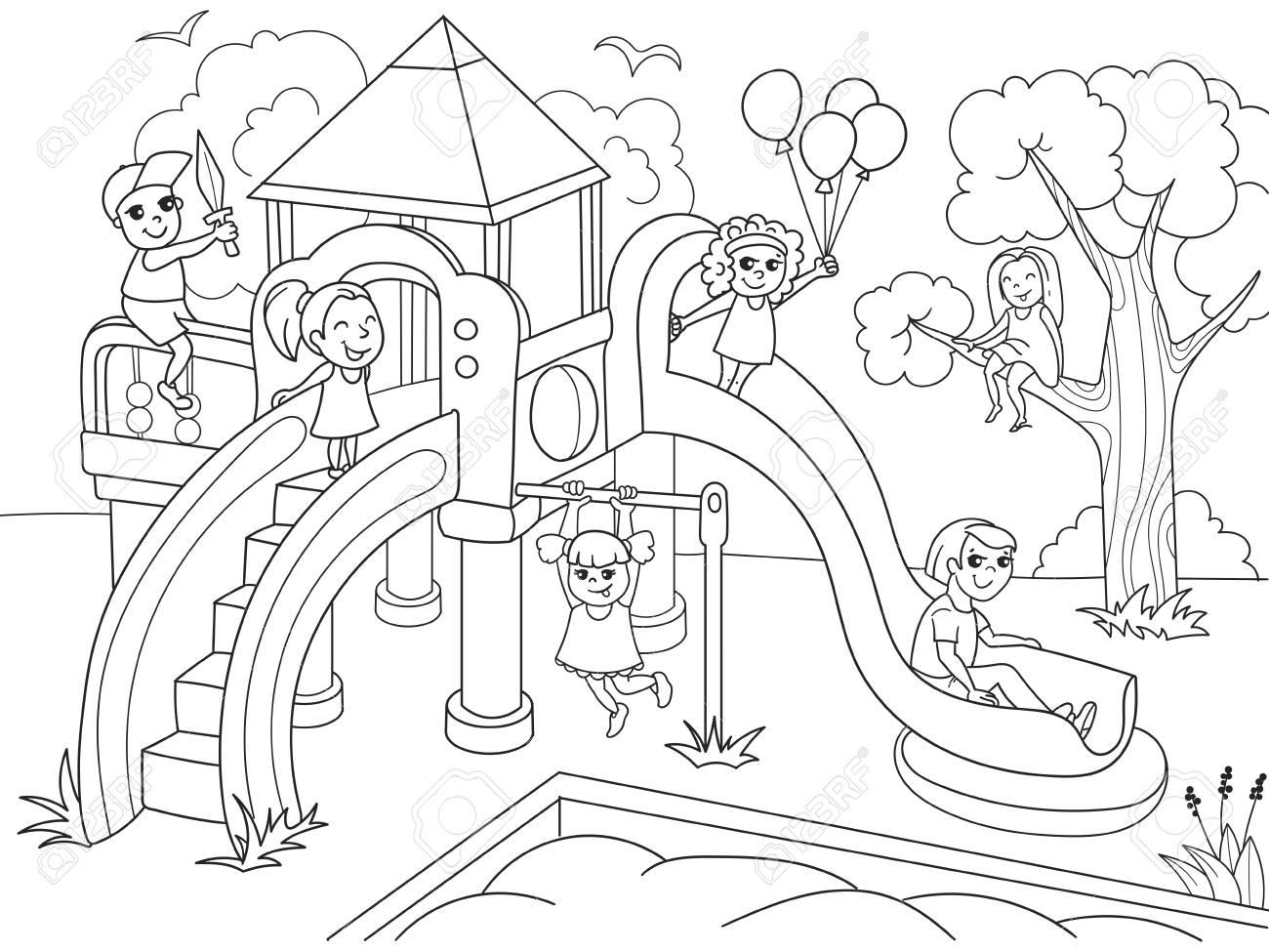 Parque Infantil Para Colorear Ilustración Del Vector De Blanco Y Negro