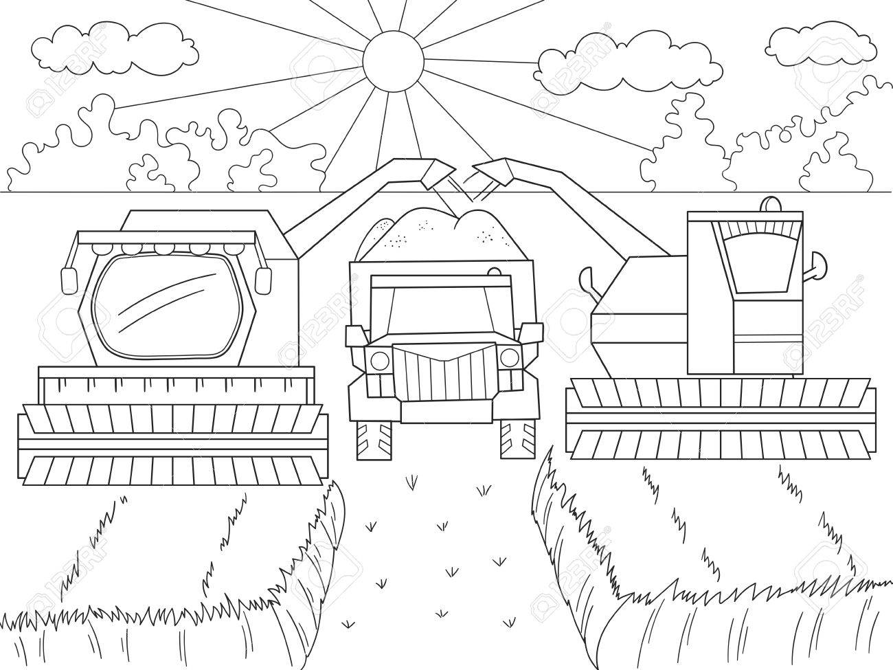 Cartoon Malbuch Für Kinder Herbst Ernte Von Weizen