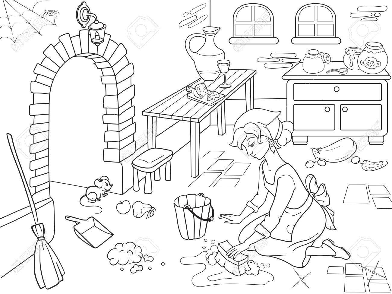 Cenicienta Limpia La Cocina La Nina En El Suelo Alrededor Del