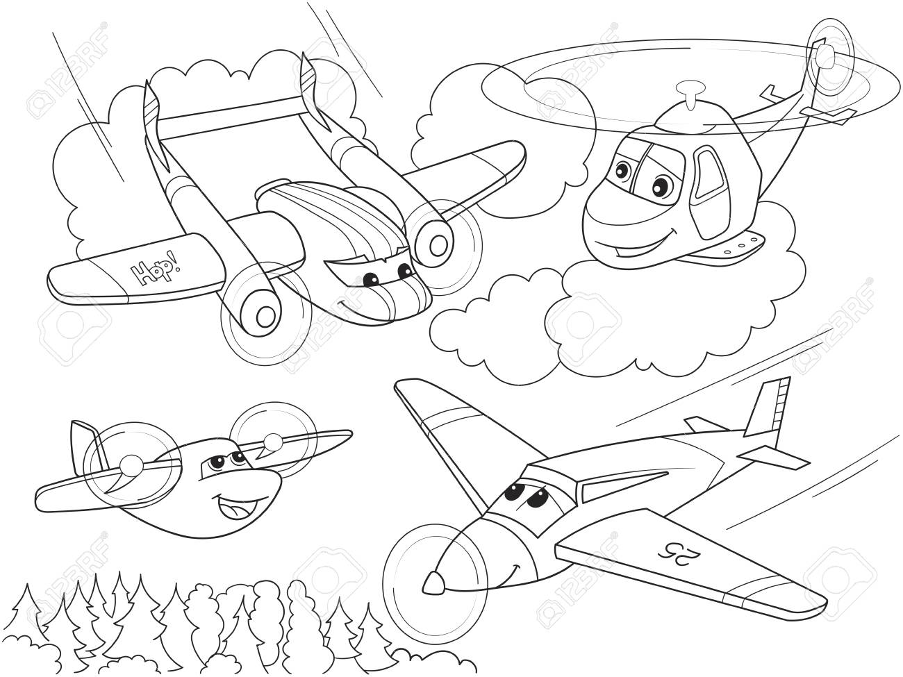 Dibujos Animados Para Colorear Helicópteros Y Aviones Con Caras