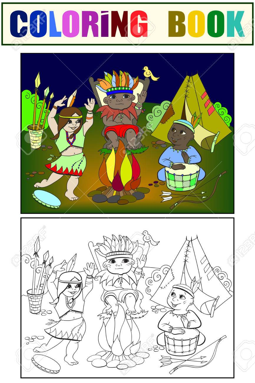 Indian Tribe In The Form Of Three Children Colouring Book. Royalty ...