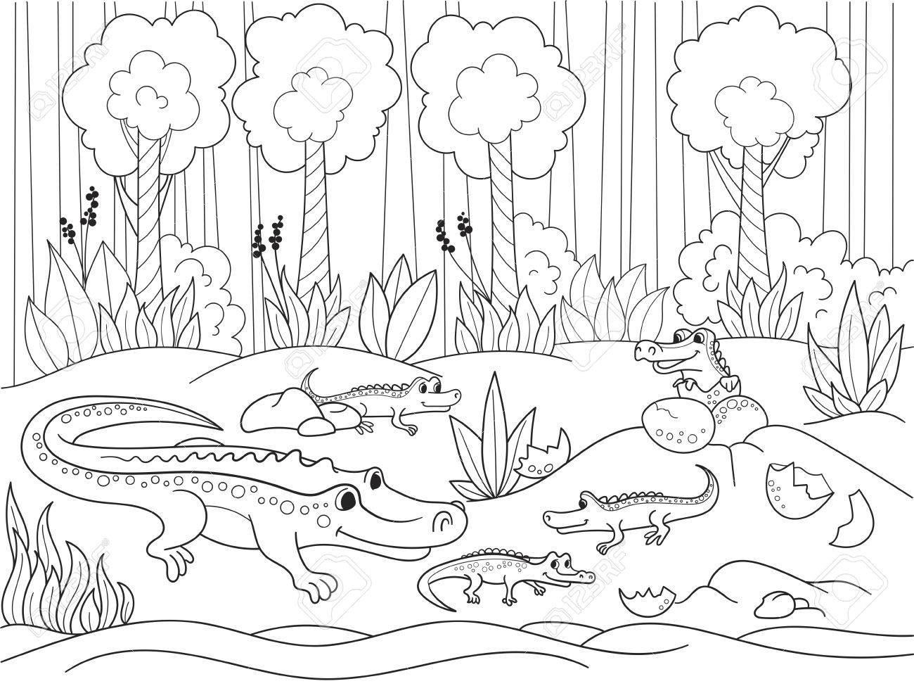 Familia De Dibujos Animados Para Niños De Cocodrilos En áfrica Libro De Colorear Líneas Negras Fondo Blanco
