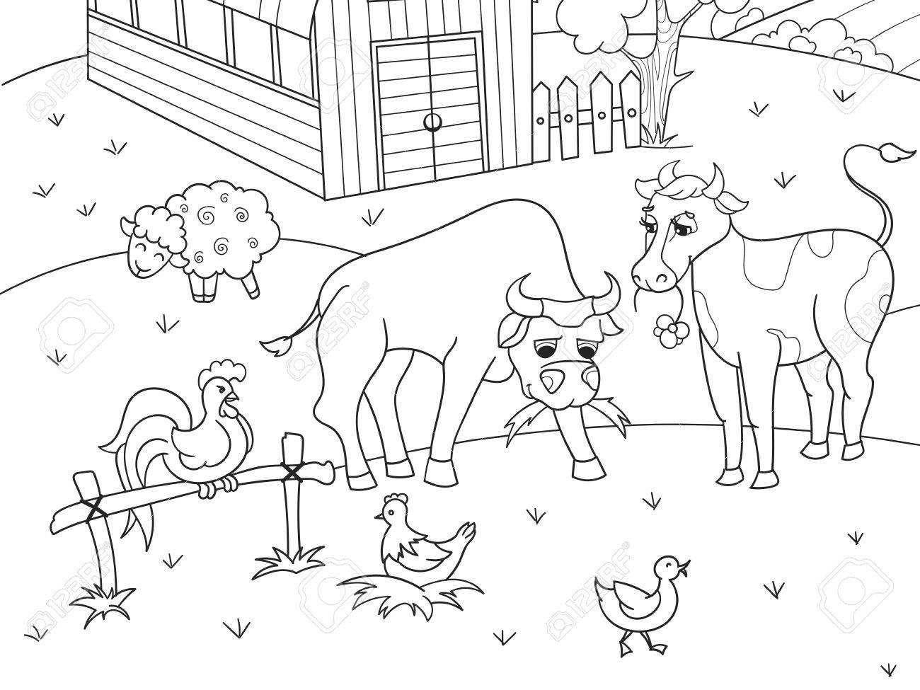 Farm Animals And Rural Landscape Coloring Vector For Adults Stock