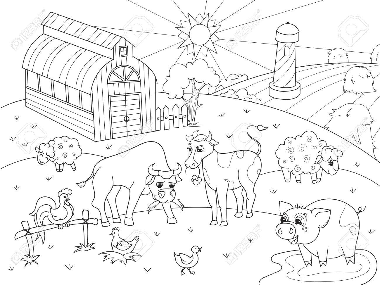 Farm Animals And Rural Landscape Coloring Vector For Adults Royalty ...