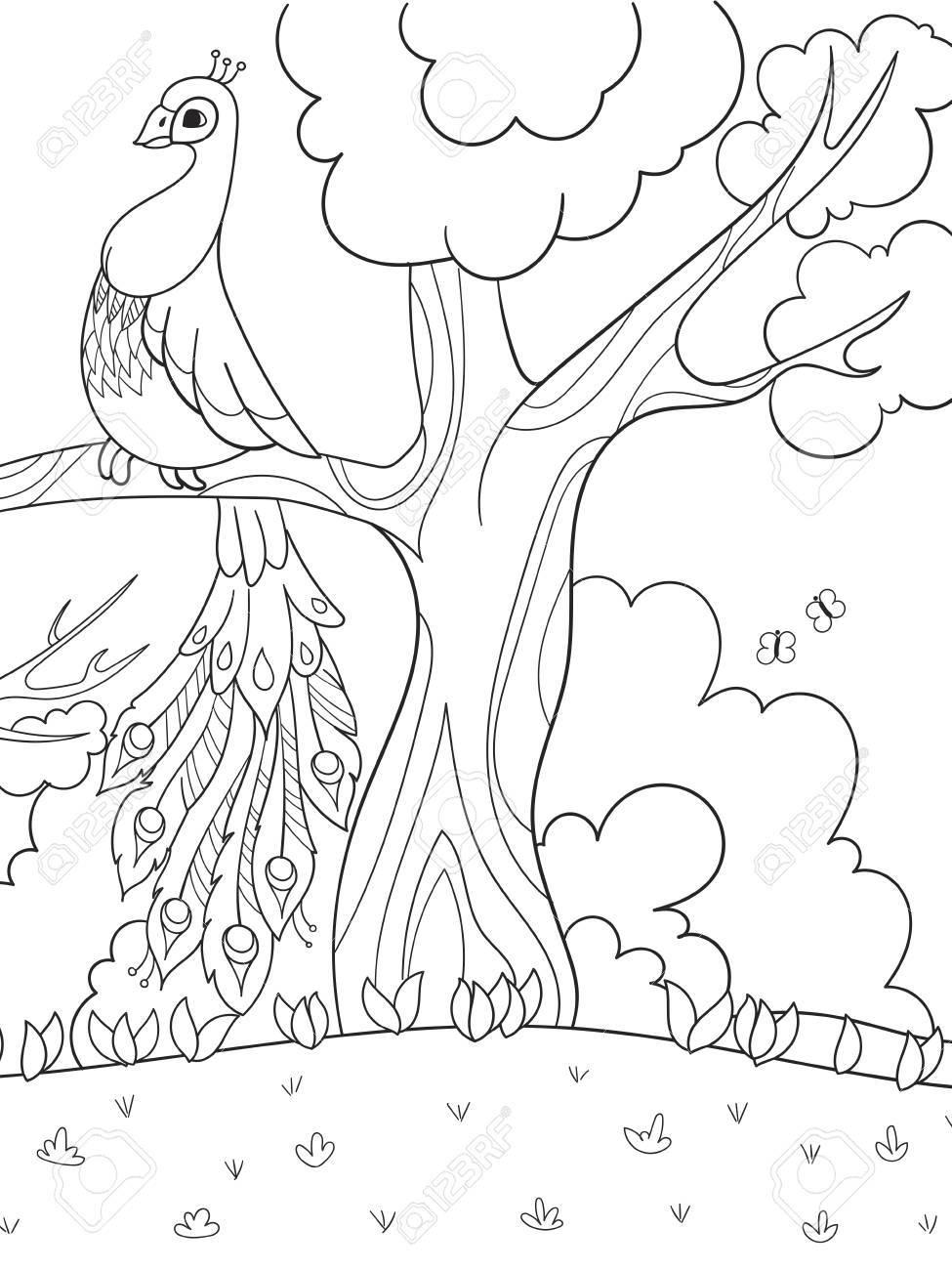 Pájaro En Un árbol De Dibujos Animados Para Colorear Para Niños