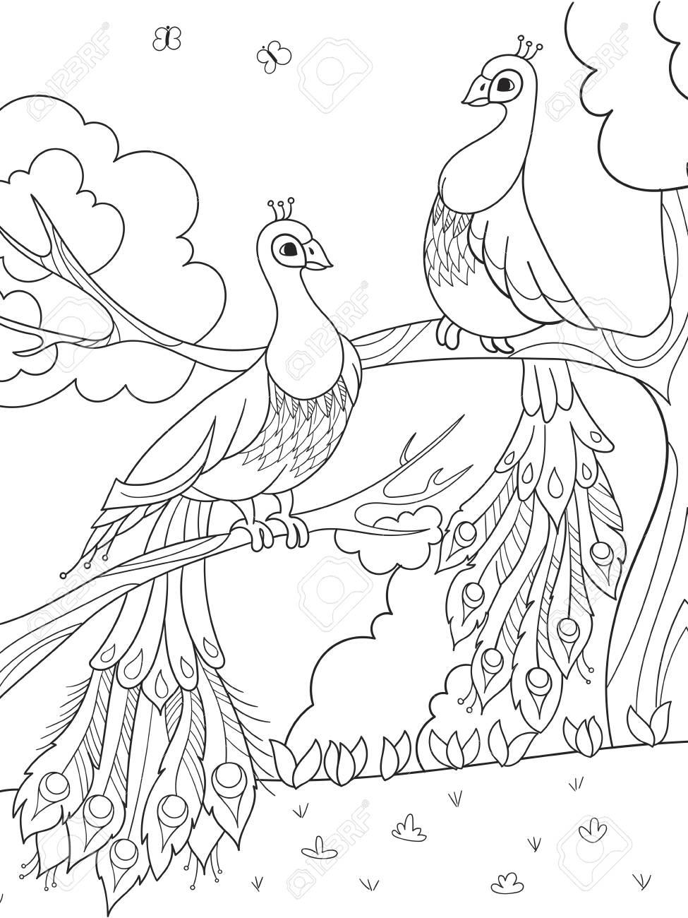 Coloriage Arbre Et Oiseau.Coloriage De Dessin Anime Pour Les Enfants Un Oiseau Une Plume D