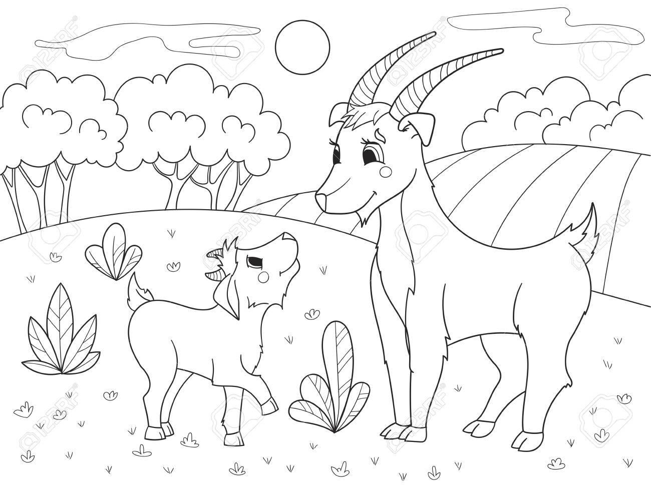 Libro Para Colorear De Dibujos Animados Para Niños Una Familia De Cabras En Un Prado