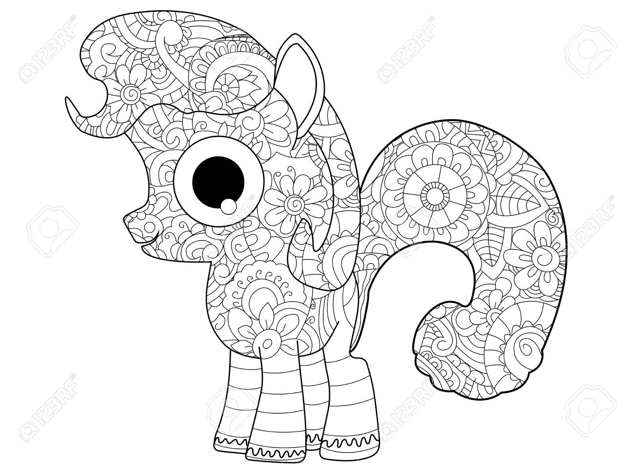Little Horse Pony Coloring Book For Adults Raster Illustration ...