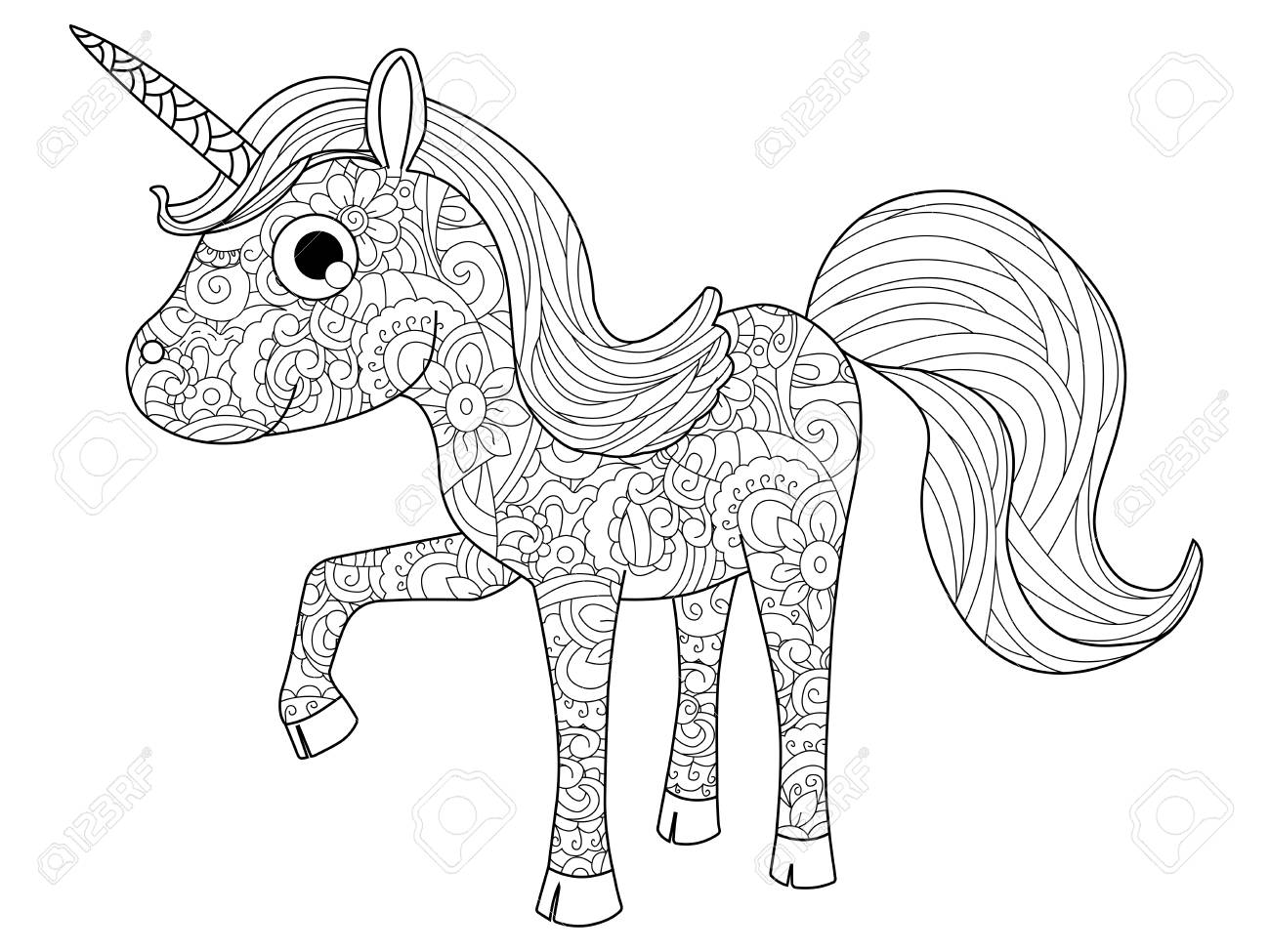 Children Toy Unicorn Coloring Book For Adults Raster Illustration Anti Stress Adult