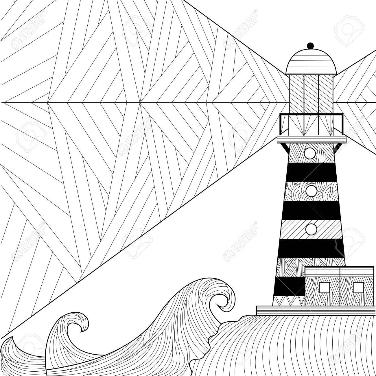 Diseno De Arte De La Linea De Paisaje Marino Para Colorear Libro