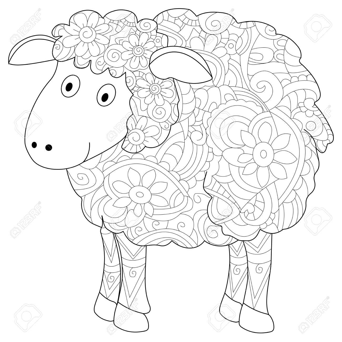 Libro De Colorear Animal De Carnero Para Adultos Trama Ilustración Colorante Antiestrés Para Adultos Herbívoros Estilo Líneas Blancas Y Negras