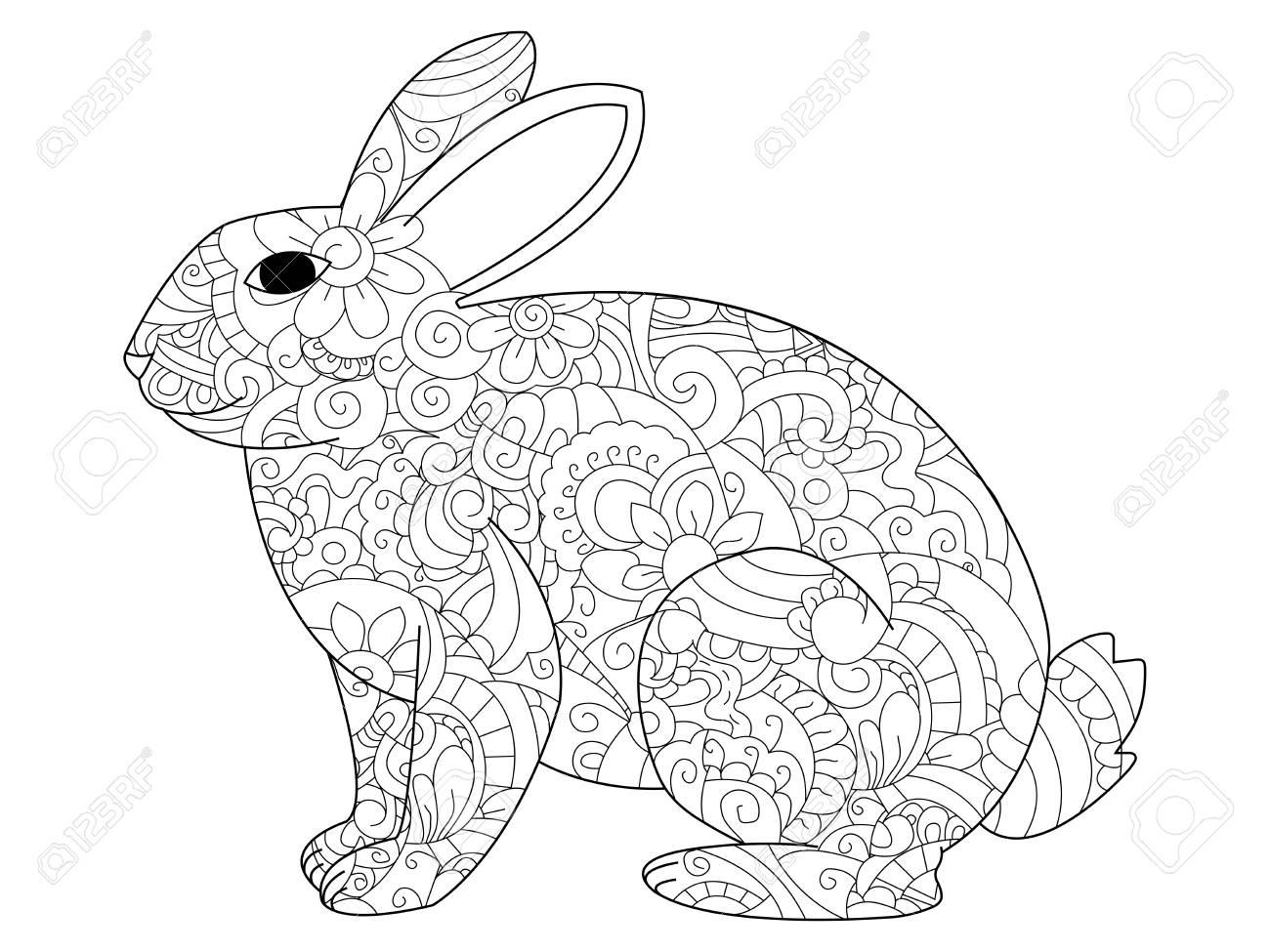 Conejo Parado Para Colorear Lindo conejito está parado y sostiene ...