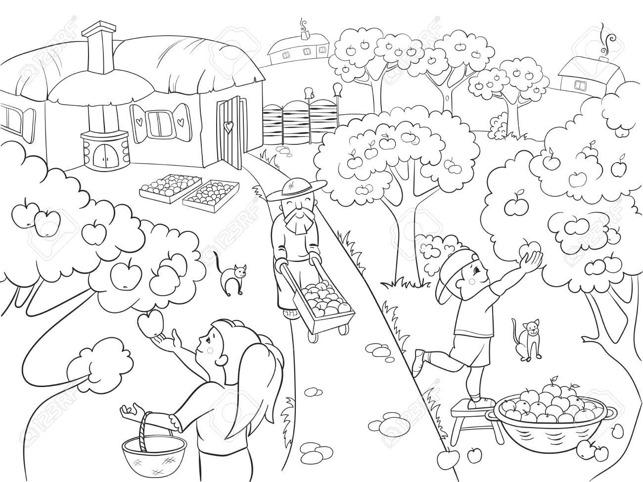 Niños Para Colorear De Dibujos Animados Sobre El Tema De La Ilustración De La Trama De La Cosecha Estilo Zentangle Blanco Y Negro Niños Jardín