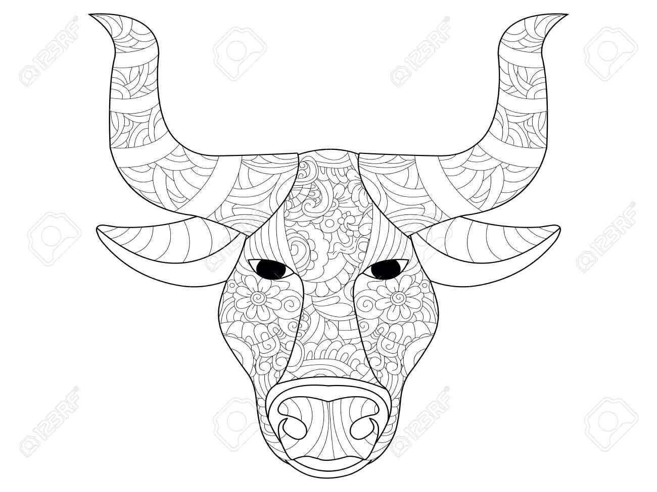 Libro De Colorear Antiestrés De Cabeza De Vaca Para Adultos Trama Dibujada A Mano Blanco Y Negro Doodle De Impresión Con Estampados étnicos