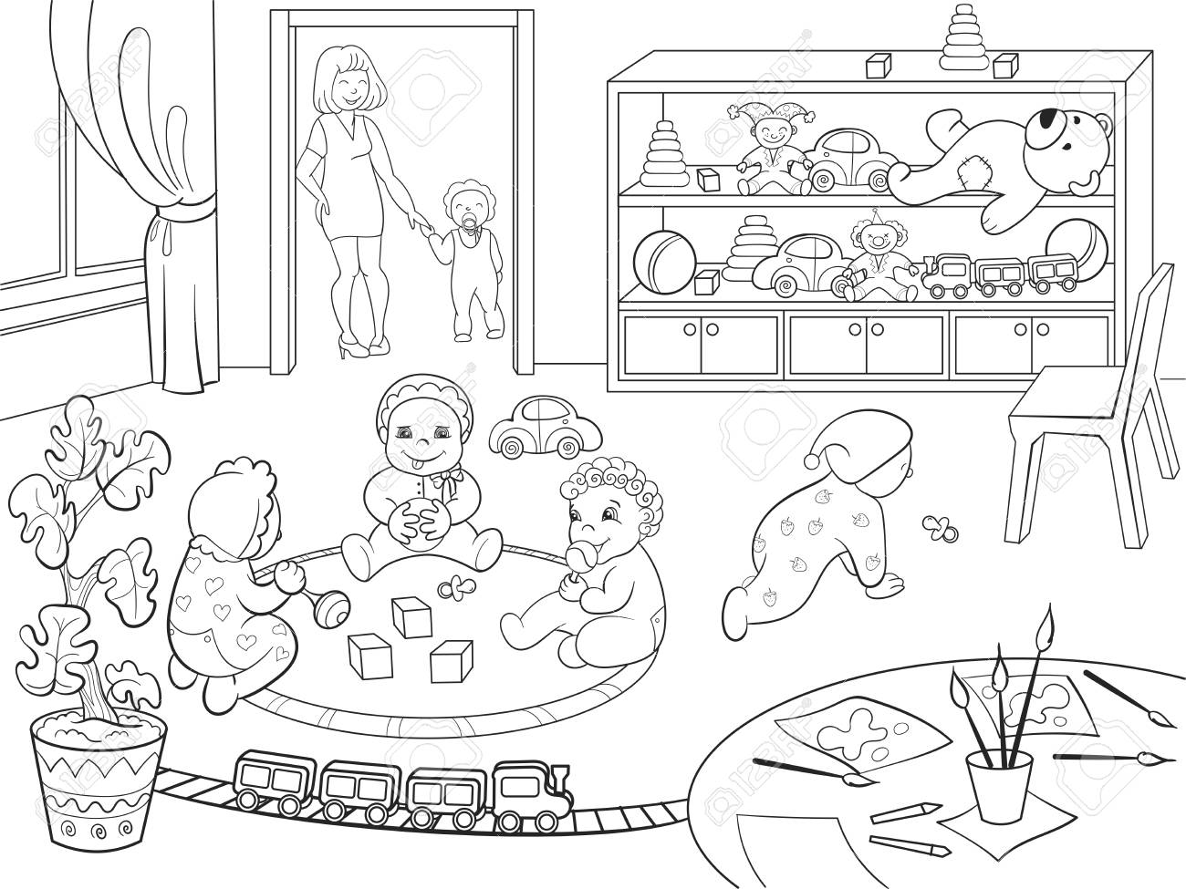 Libro De Colorear Del Jardín De La Infancia Para La Ilustración De La Trama De La Historieta De Los Niños Estilo Zentangle En Blanco Y Negro