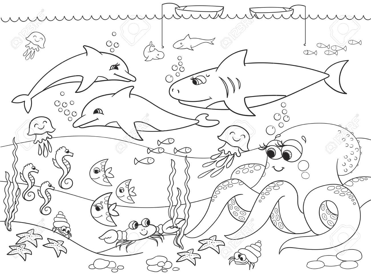 Fondo Marino Con Animales Marinos Dibujo De Trama Para Ninos
