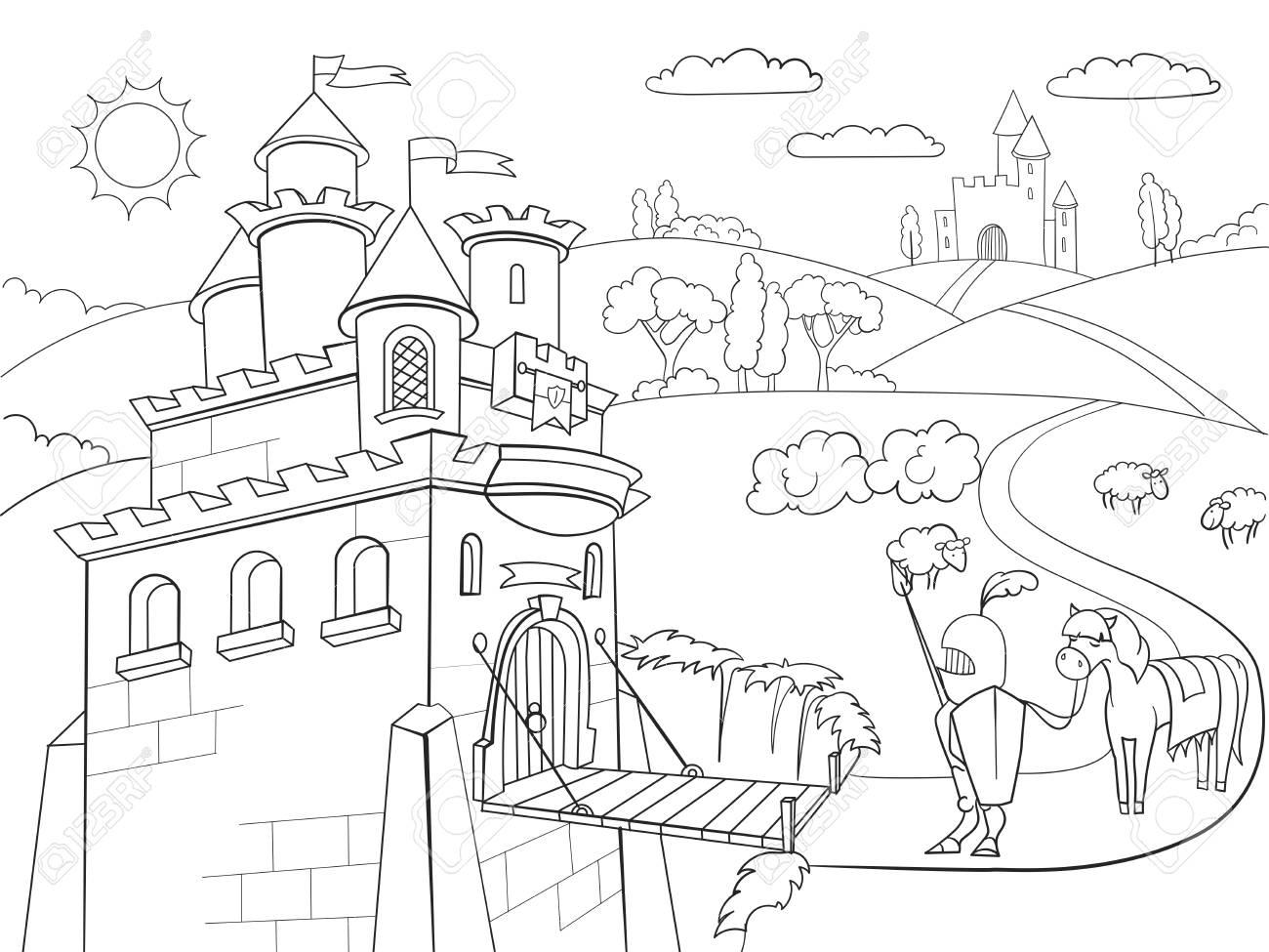 Niños Para Colorear De Dibujos Animados Caballero Castillo Ráster Zentangle Estilo Blanco Y Negro Caballero Caballo Armadura Castillo Cuento De