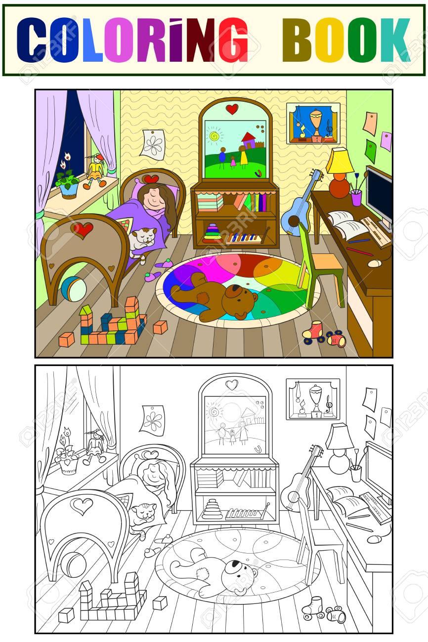 Enfants à Colorier Sur Le Thème De Lillustration De Coloriage De La