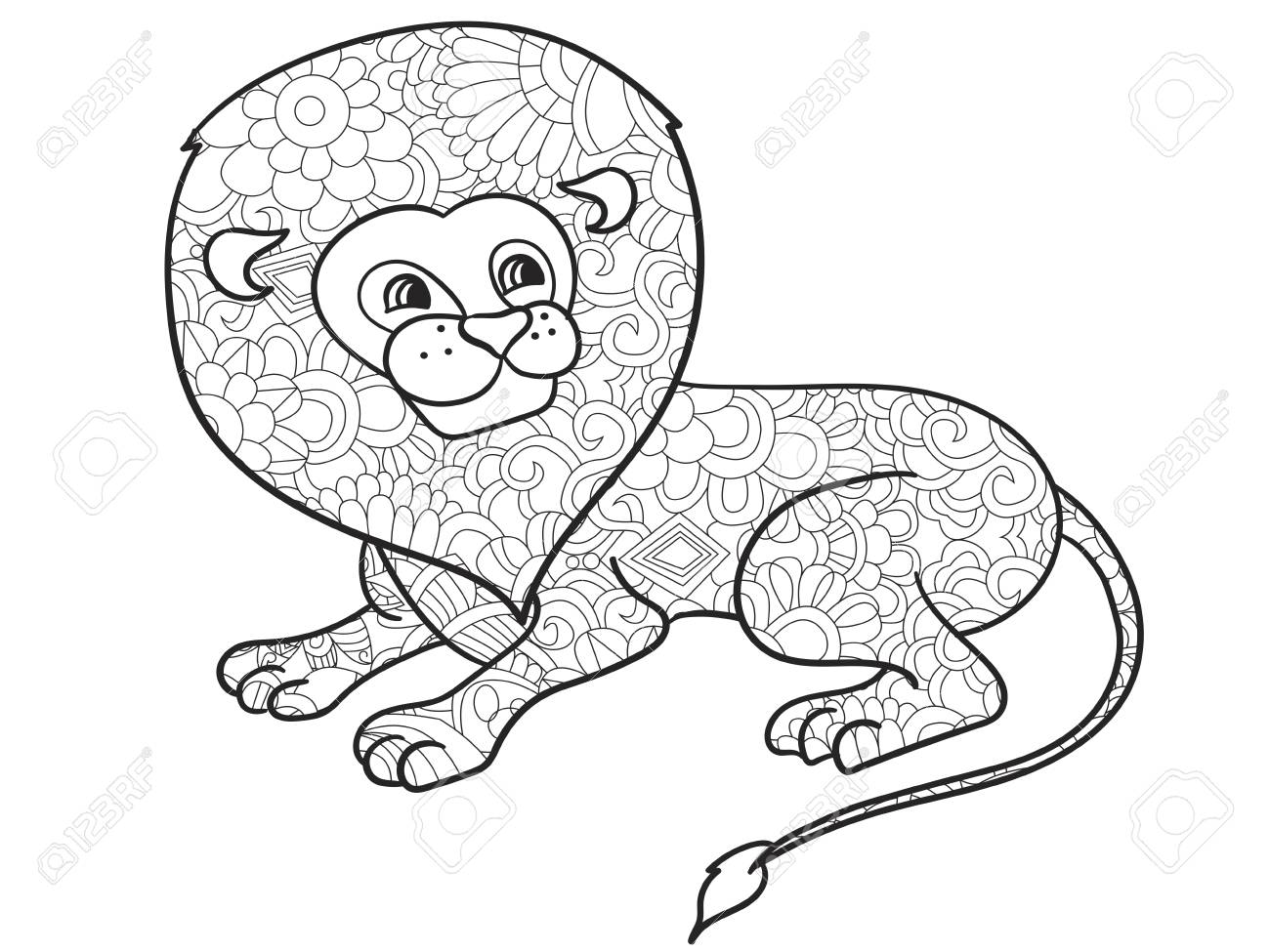 Lion Coloring Book Vector Illustration Animal Anti Stress For Adult Zentangle Style