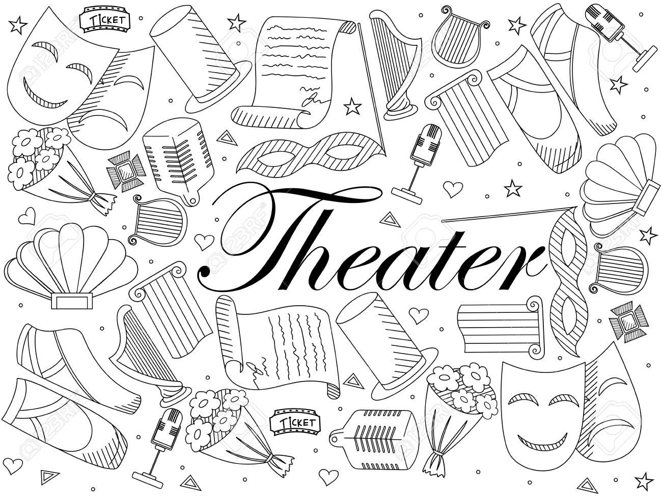 Teatro Línea Arte Diseño Para Colorear Ilustración Vectorial