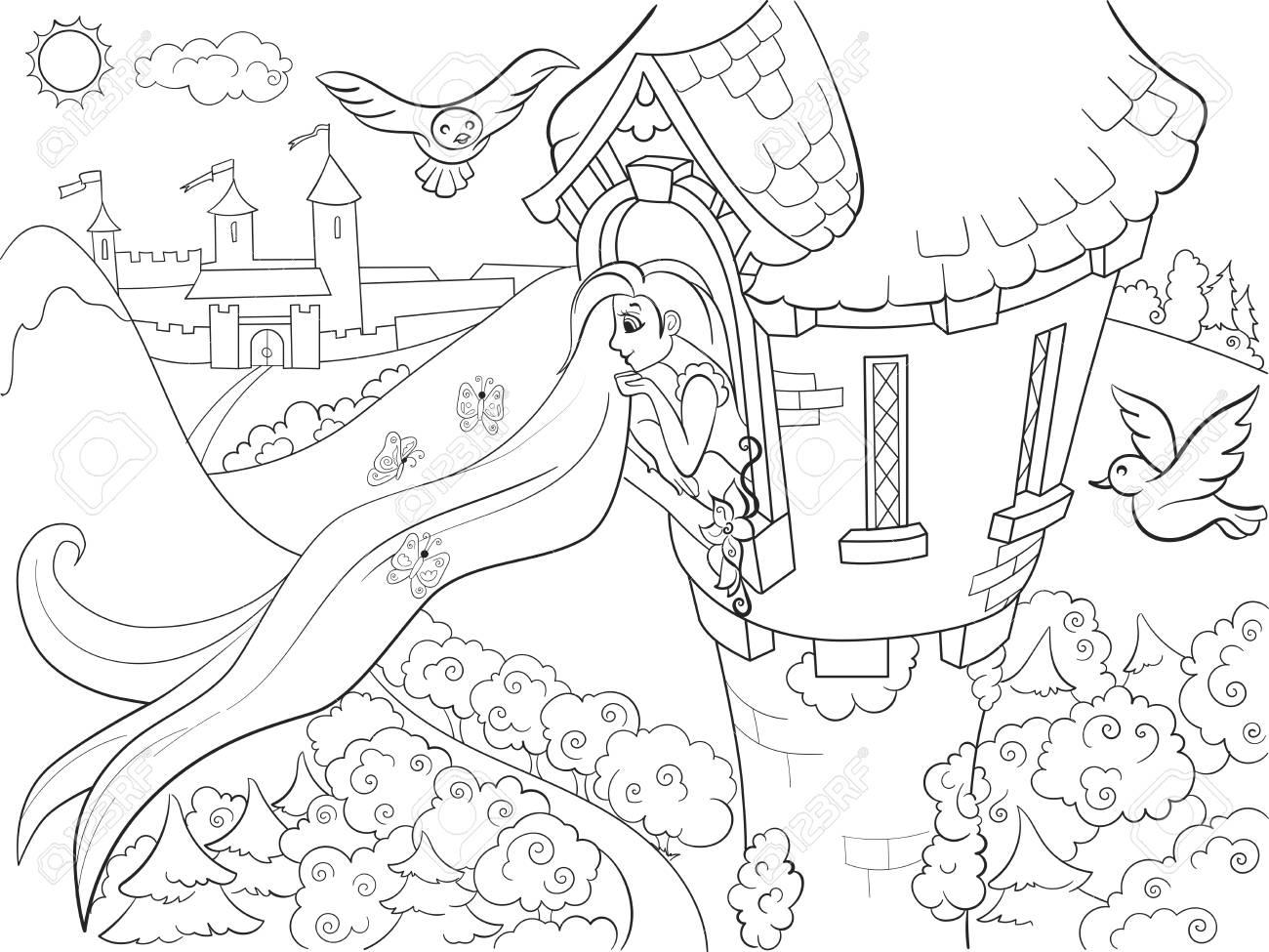 Coloriage De Princesse Raiponce.Princesse Raiponce Dans La Tour De Pierre A Colorier Pour