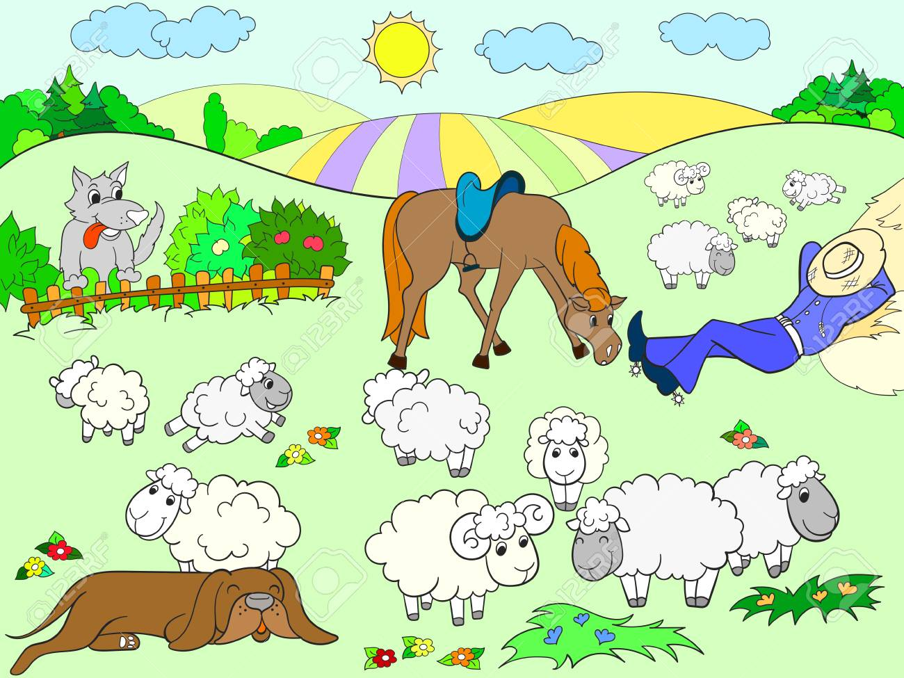 Pasture Sheep With A Shepherd And Dog Coloring For Kids Cartoon ...