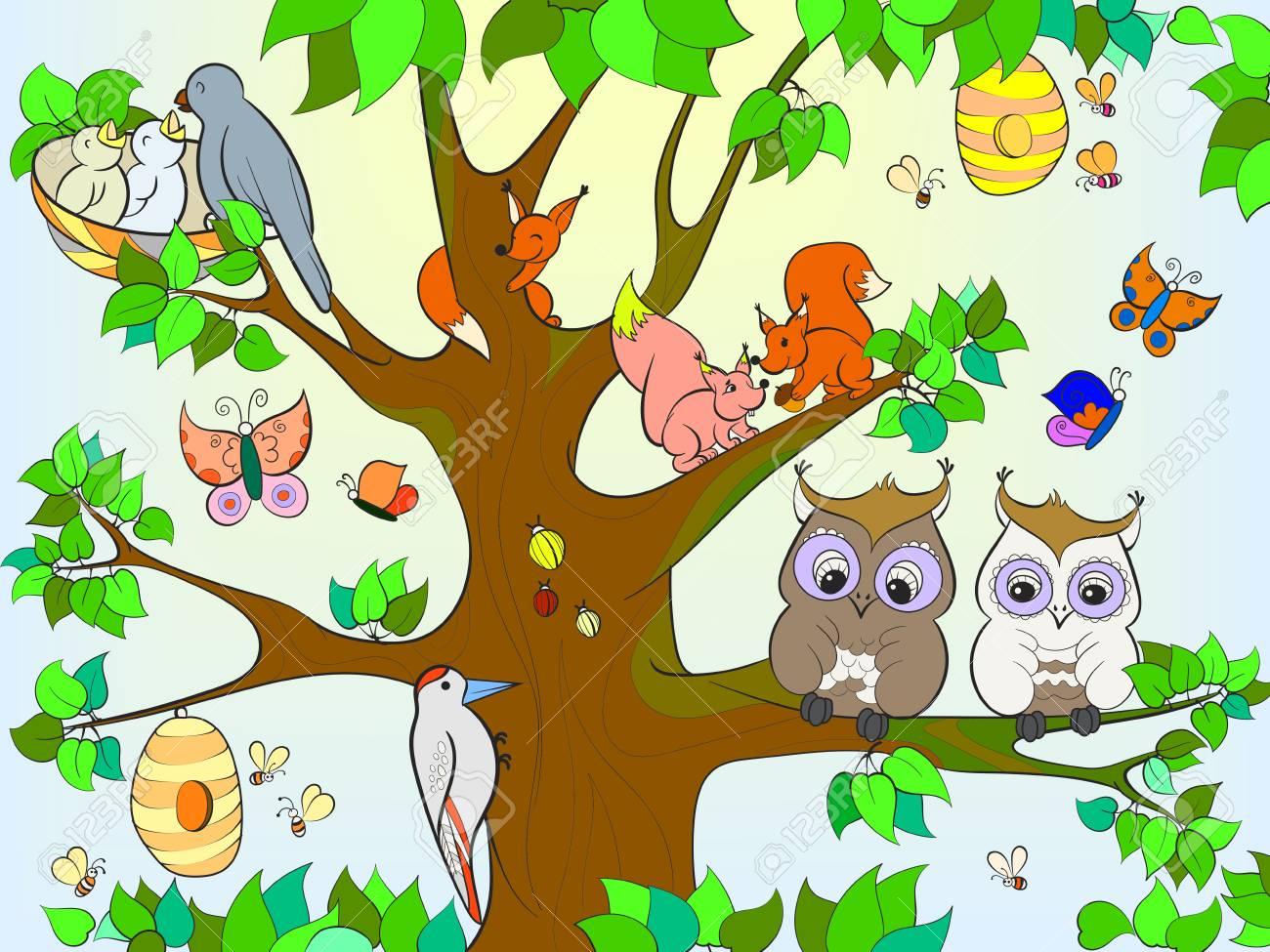 Animales Y Pájaros Que Viven En El árbol De Color Para Los Niños