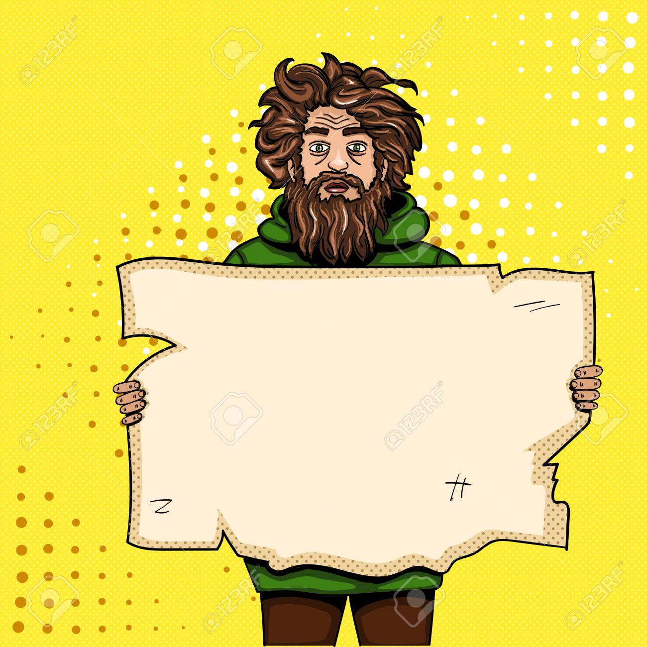 Homeless man with paper sign pop art style vector illustration. Comic book style imitation. Vintage retro style. Conceptual illustration - 93702295