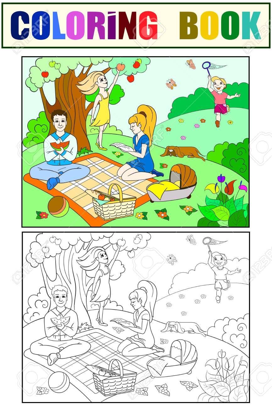 Picnic In Nature Coloring Book For Children Cartoon Vector. Royalty ...
