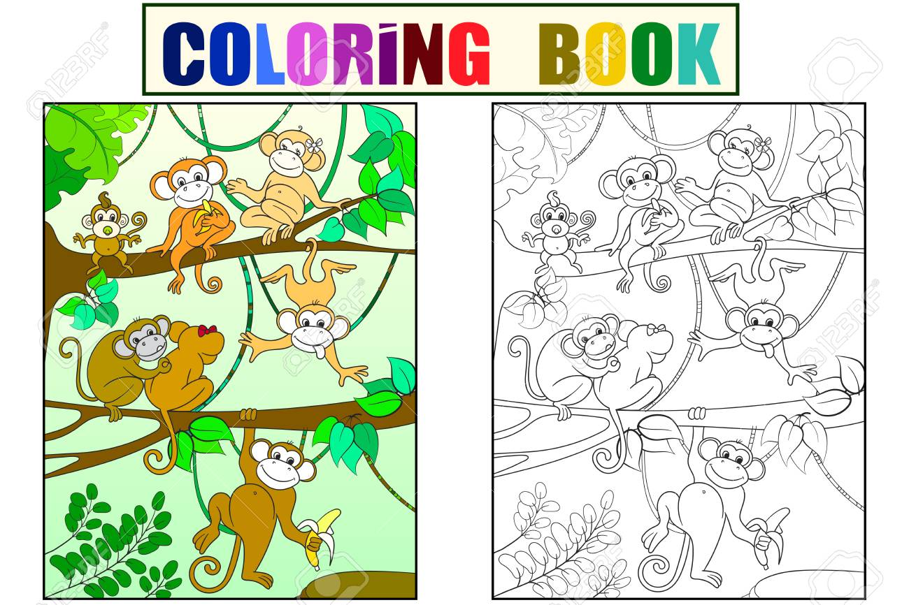 Family Of Monkeys On A Tree Color Book For Children Cartoon Vector ...