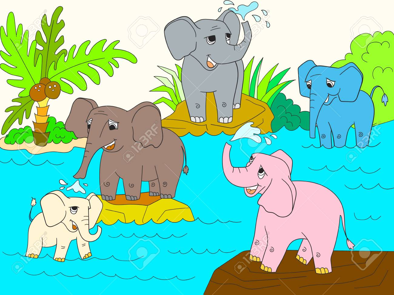 African Elephant Cartoon Character Color Book Vector Image