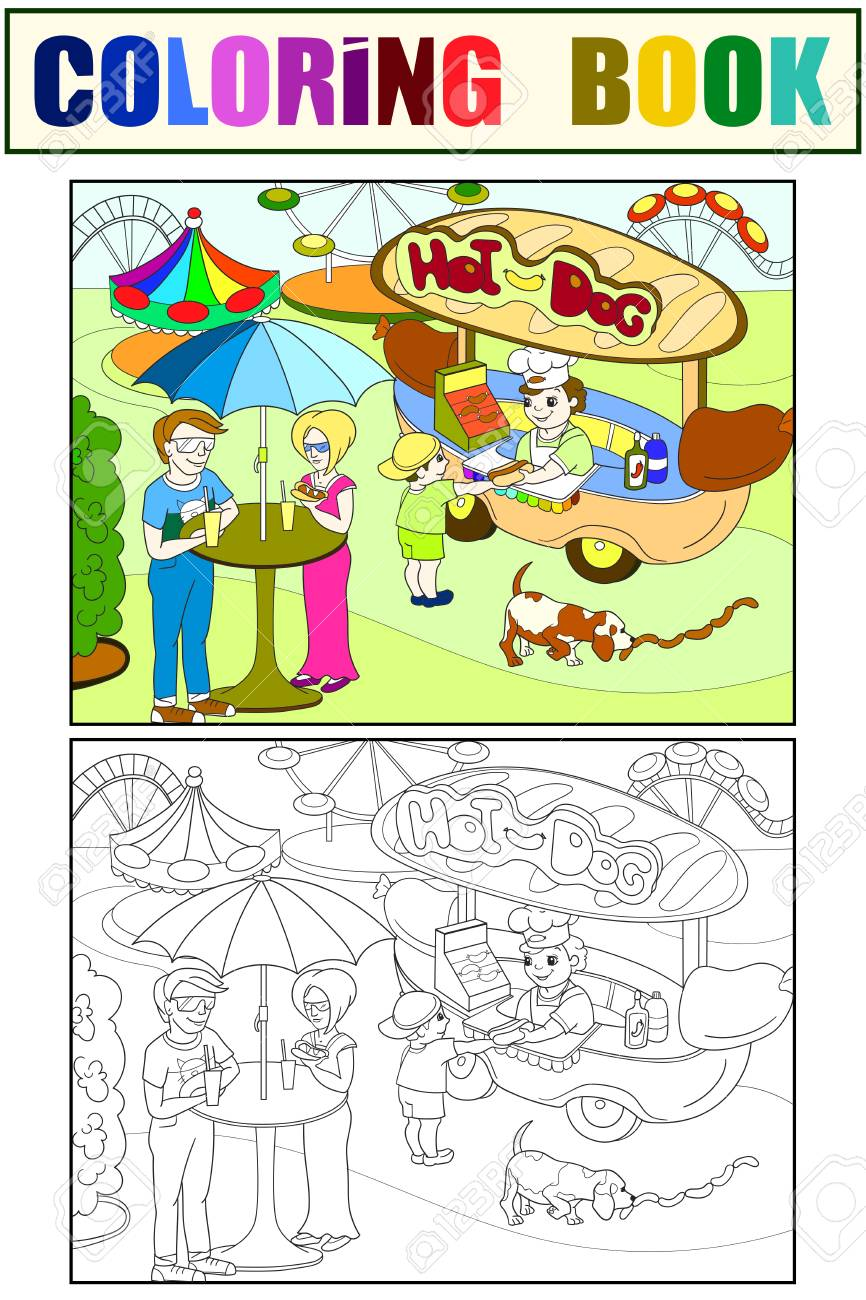 Hot Dog Black And White Clip Art Clipart - Coloring Pages Hotdog ... | 1300x866