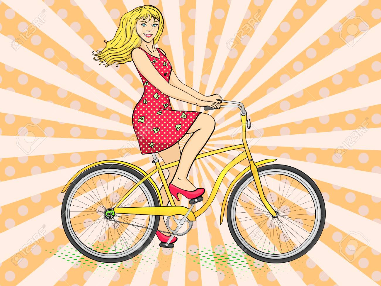 Pop art background with sun rays. Young beauty woman ride bicycle retro vector illustration. Color background. Comic book style imitation. - 100849267
