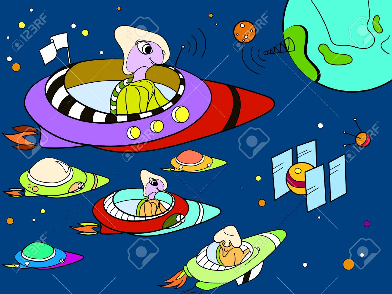 space with planets rockets spaceships ufo constellations color