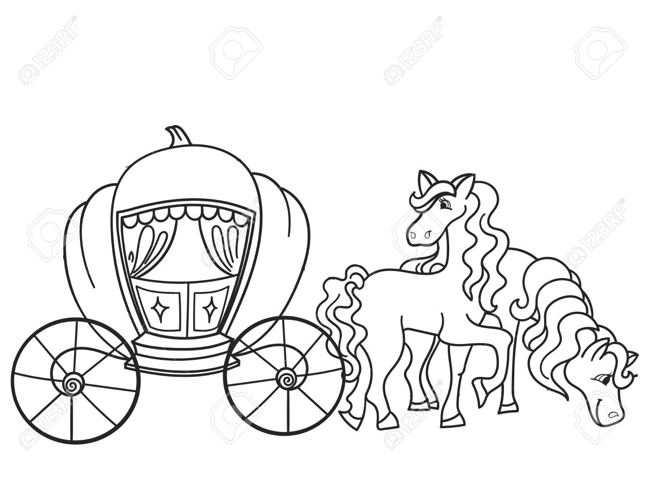 Carriage pumpkin and horses transport for the king childrens coloring raster stock