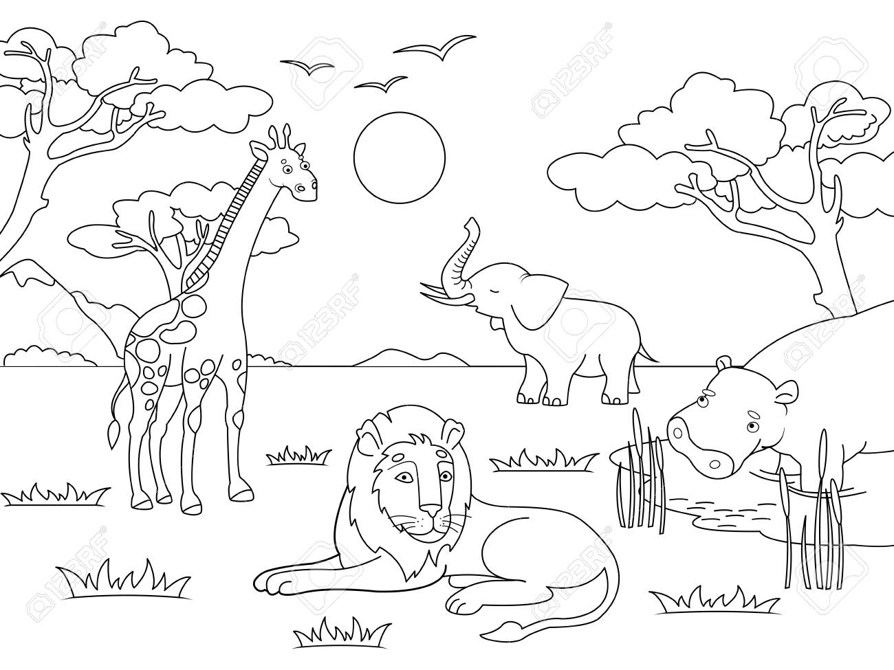 Children Drawing Animals Of Africa Mainland Mammals Zoo Vector Royalty Free Cliparts Vectors And Stock Illustration Image 125867261