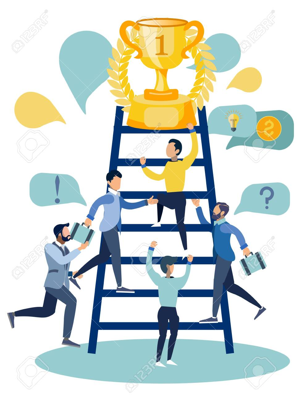 Office staff compete for victory. In minimalist style Cartoon flat Vector Illustration - 124362037