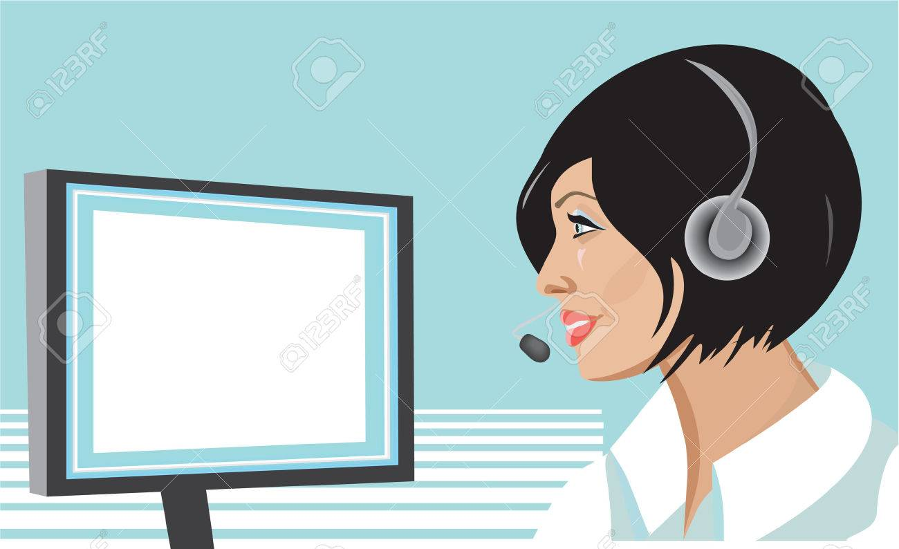Girl with headset Stock Vector - 3065557