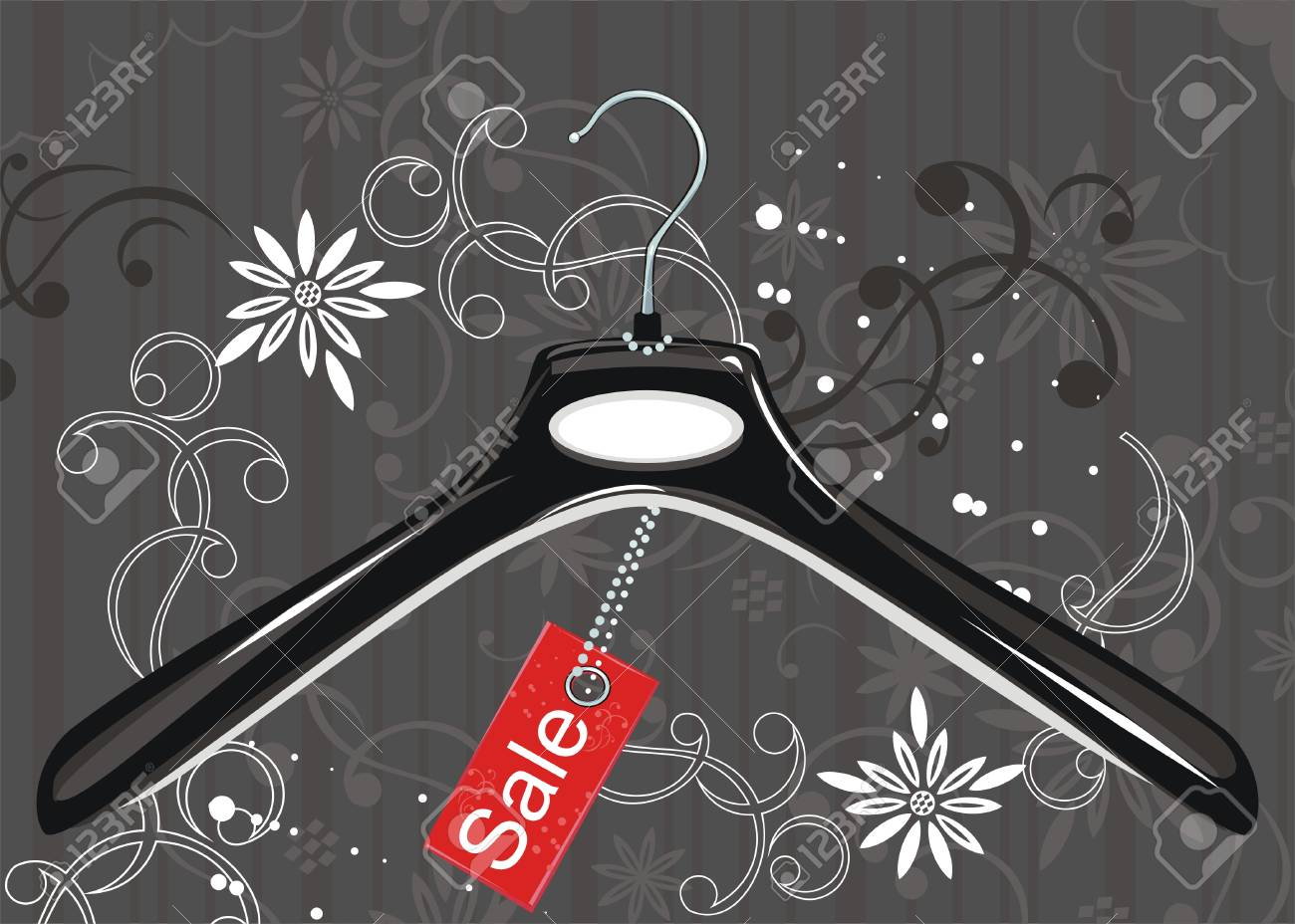 Black coat hanger and sale tag Stock Vector - 7141040