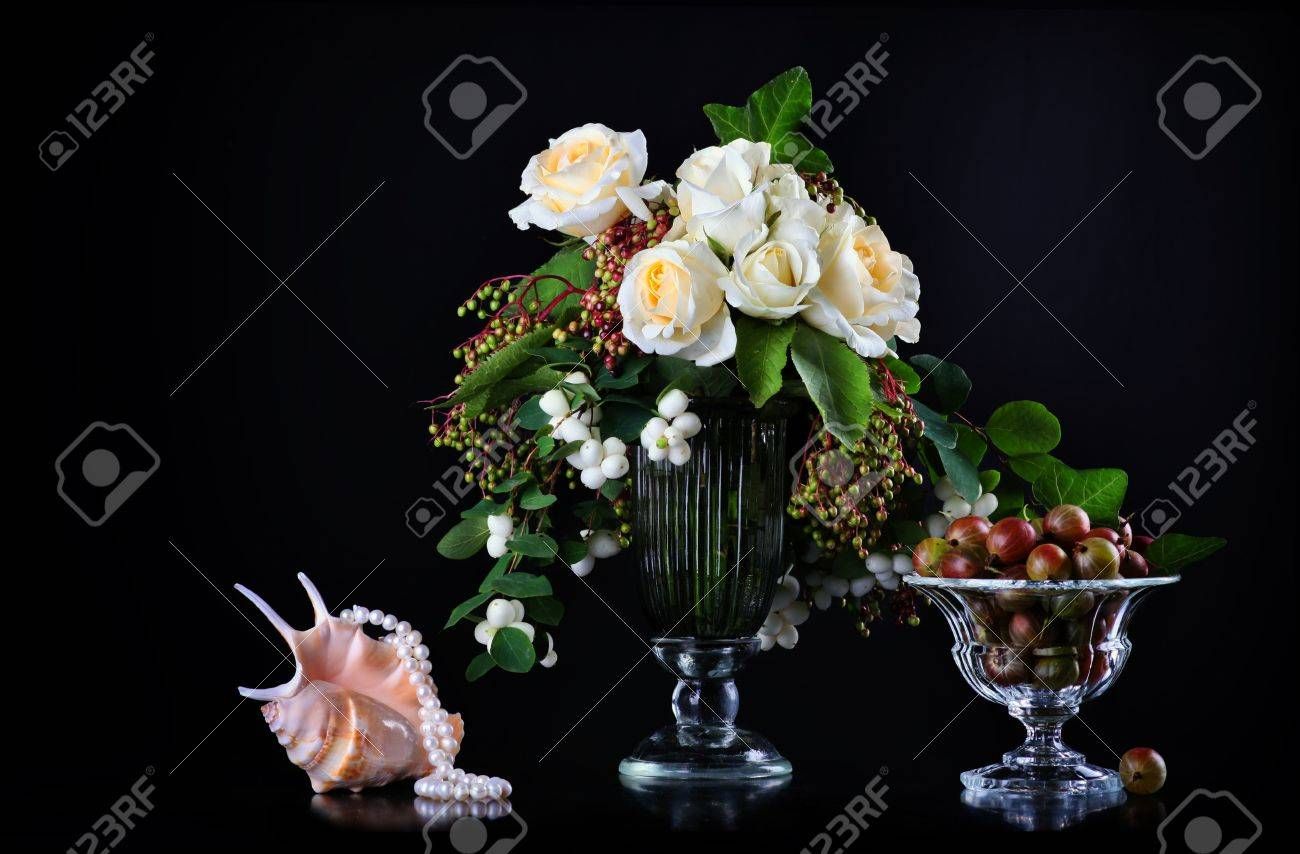 Still life with white roses  and fresh gooseberry Stock Photo - 14744615