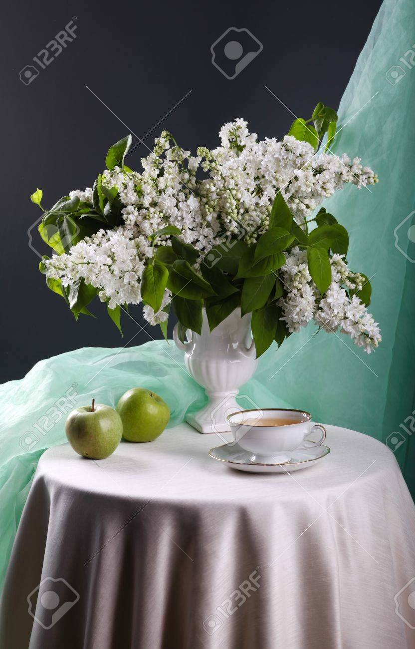 Still life with white lilac in vase Stock Photo - 20230815