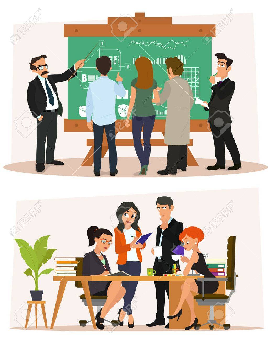 business characters scene business meeting in the office study