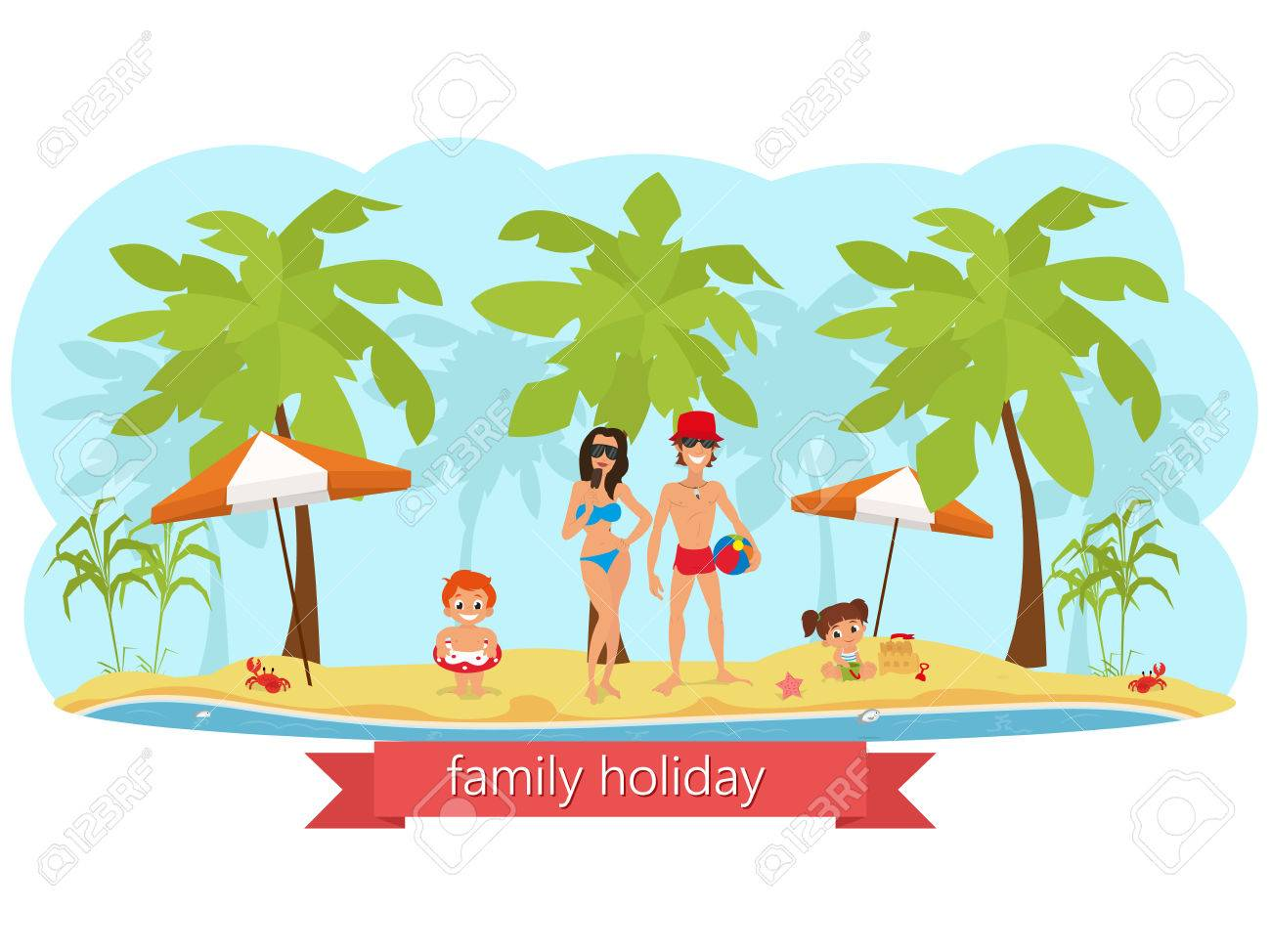 Happy Family On The Beach Mom Dad Son And Daughter Vector Stock