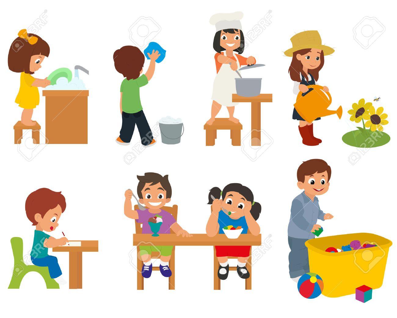 Los Niños Ayudan A Sus Padres En Las Tareas Domésticas. Niños ...