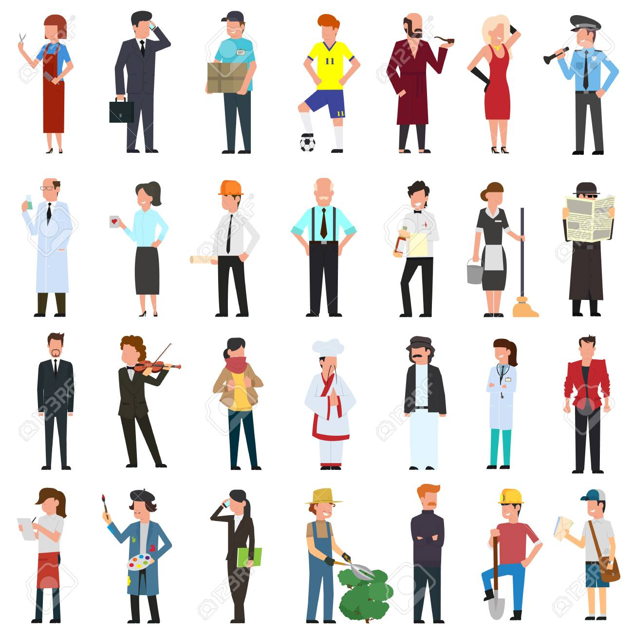 many simple characters of different professions. vector illustration in a flat style. - 112090582